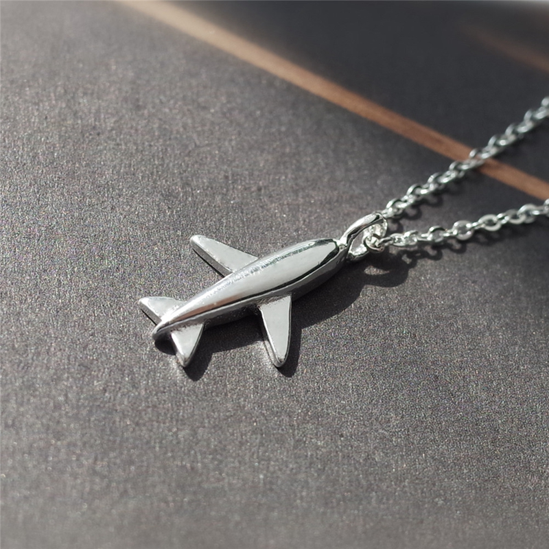 New 925 Sterling Silver Stylish And Cute Little Plane Pendant Necklace Suspension Women's Jewelry Fashion Woman Pendants