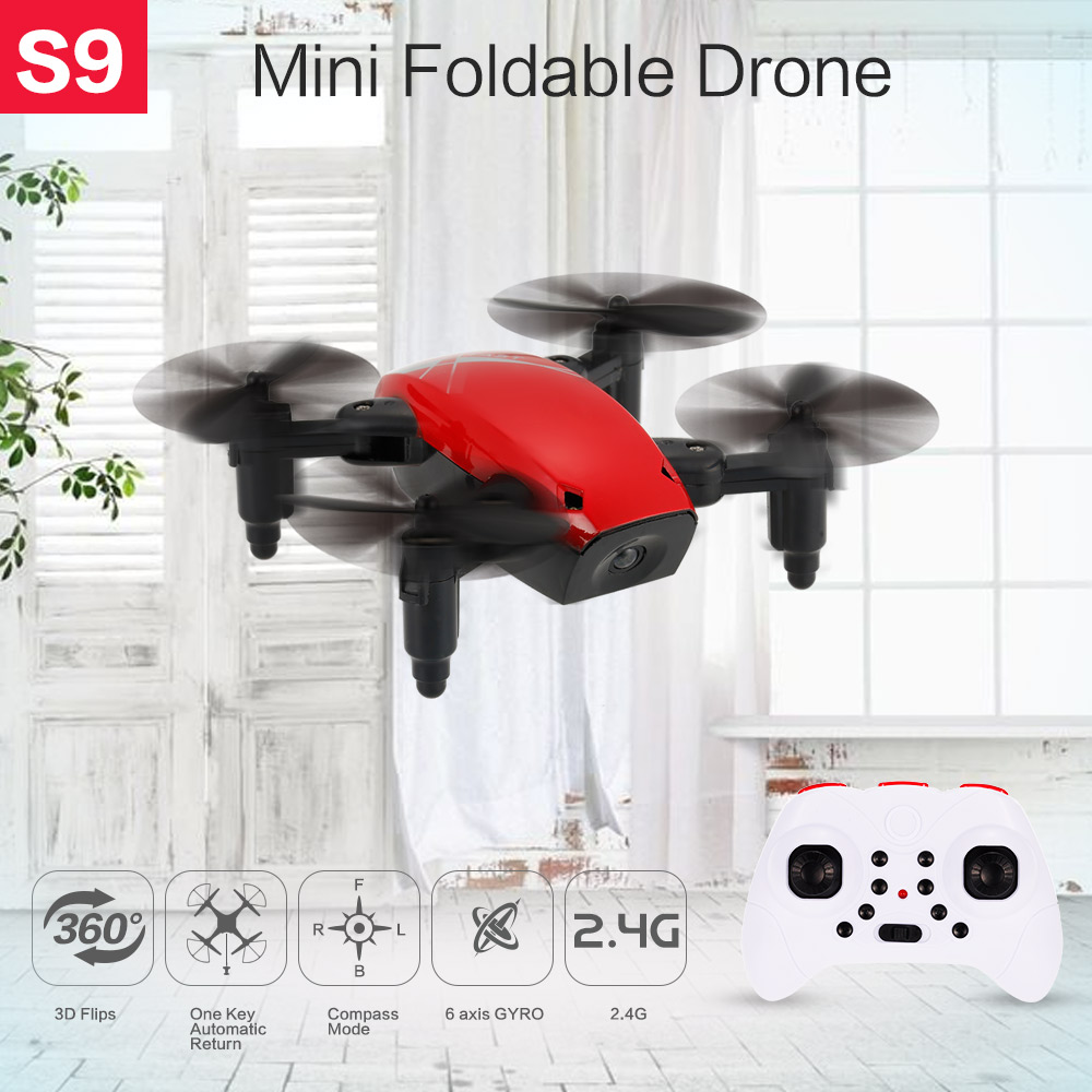 New Cute Mini Drone S9 2.4G 4CH 6-axis Gyro Selfie Drone Headless Mode One Key Return Foldable Dron RC Quadcopter RTF Gift (6)