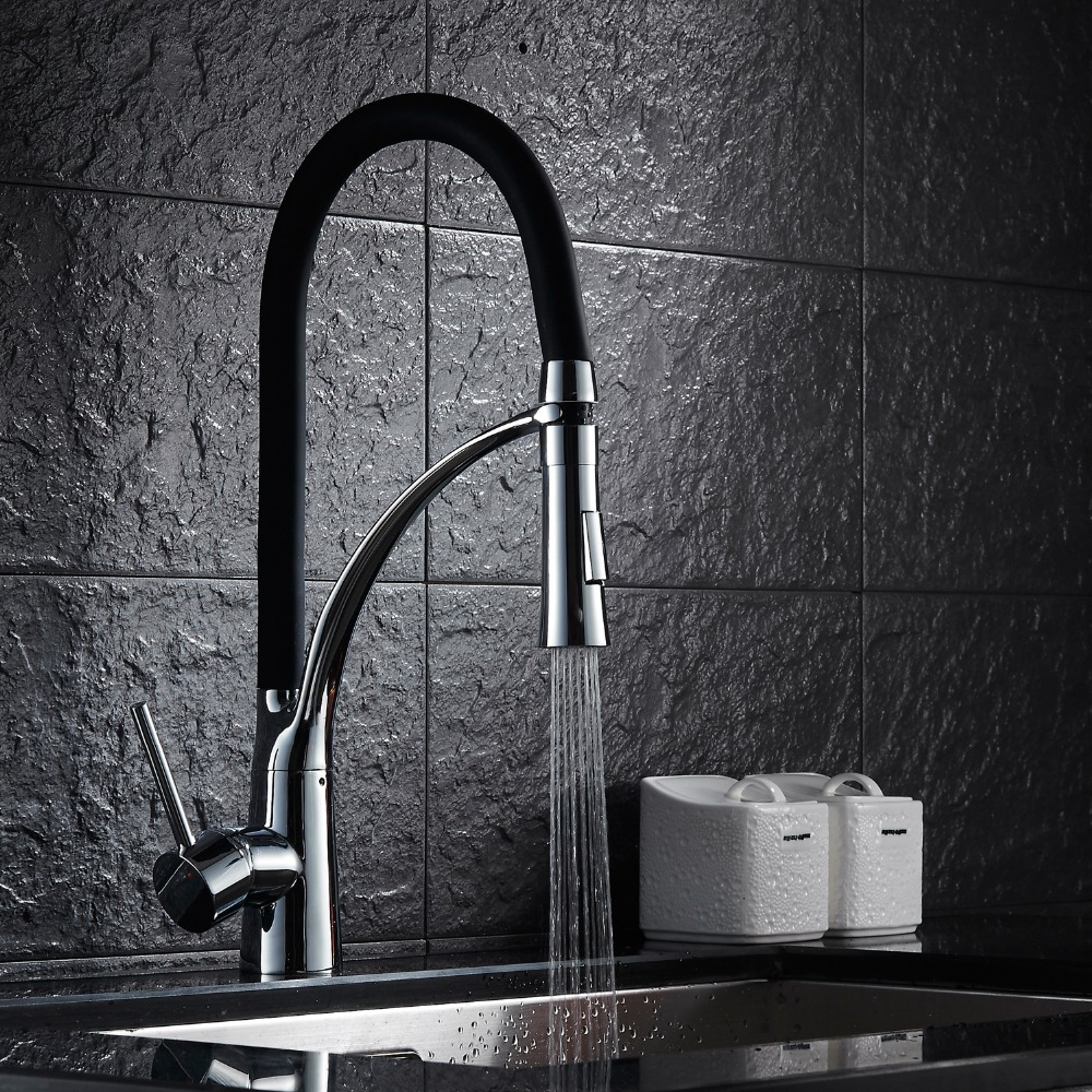 Contemporary Pull out Pull down Centerset Pullout Spray with Ceramic Valve Single Handle One Hole for