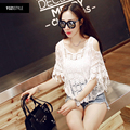 2016 New Fashion White Lace Shirts Strapless Fringed Shoulder Casual Tassel O-neck Blouses Summer Air Conditioning Top Plus Size