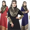Новый мусульманская женская платье длиной до пола исламская абая с длинным рукавом о-образным шеи полосатый турецкий малайзии саудовская дубай стиль кафтан платья