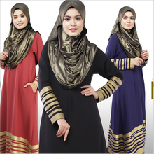 New Muslim Womens dress Floor-Length Islamic Abaya Long Sleeve O-Neck Striped Turkish Malaysian Saudi Dubai Style Kaftan Dresses