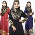 Nueva para mujer musulmana suelo longitud del vestido Abaya islámico del o-cuello de rayas turco malasio arabia estilo Dubai Kaftan Dresses