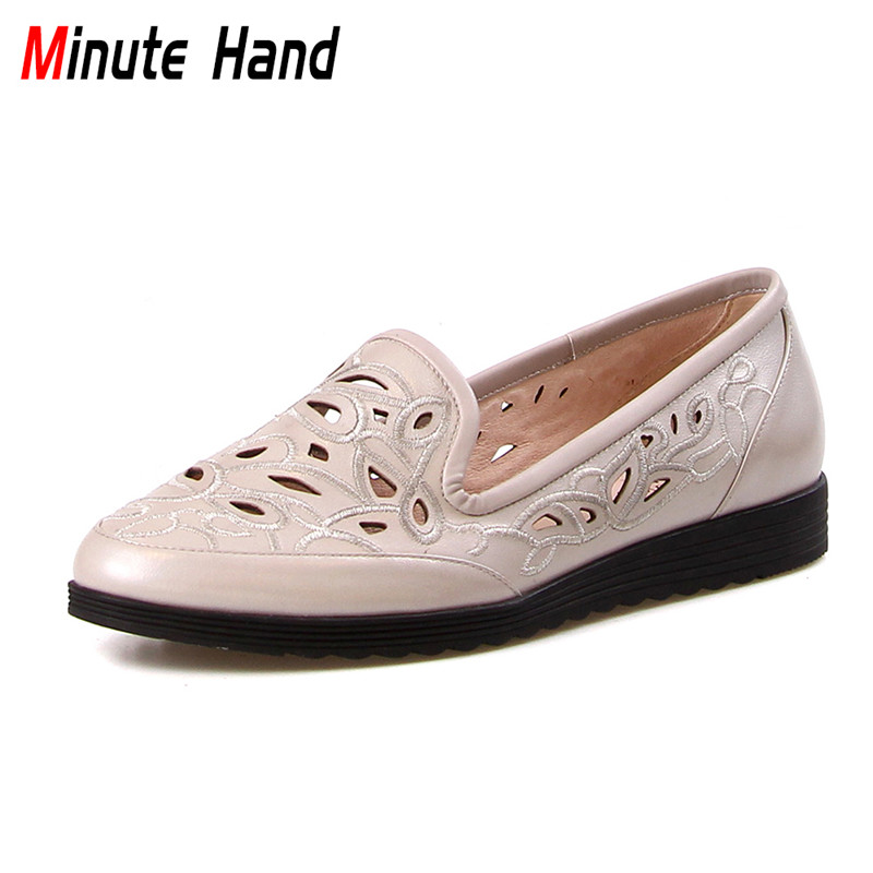 Minute Hand Spring Summer Genuine Leather Handmade Loafers Women Round Toe Hollow Out Embroider Slip On Flats Women Casual Shoes xiaying smile hollow out flats shoes women boat shoes summer casual loafers slip on pointed toe shallow rubber women solid shoes