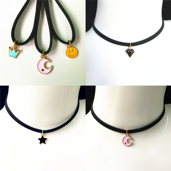 Torque Jewelry Crown Five Star Smile Necklace Pure Black Velvet With Moon Triangle Geometric Crystal Pendant