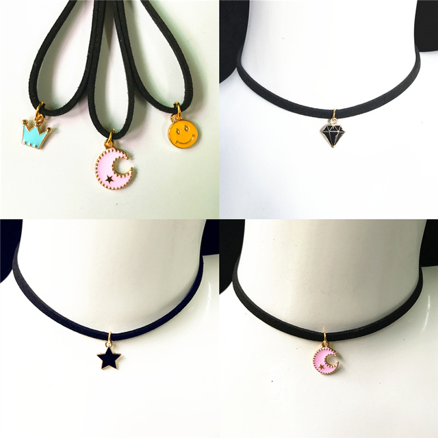 fashion Torque Jewelry Crown Five Star Smile Necklace Pure Black Velvet With Moo