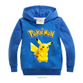 2016 Kids pokemon costume Hoodie boys girls hooded pullover full sleeve tops children clothes tops Size for 4 5 6 7 8 years old