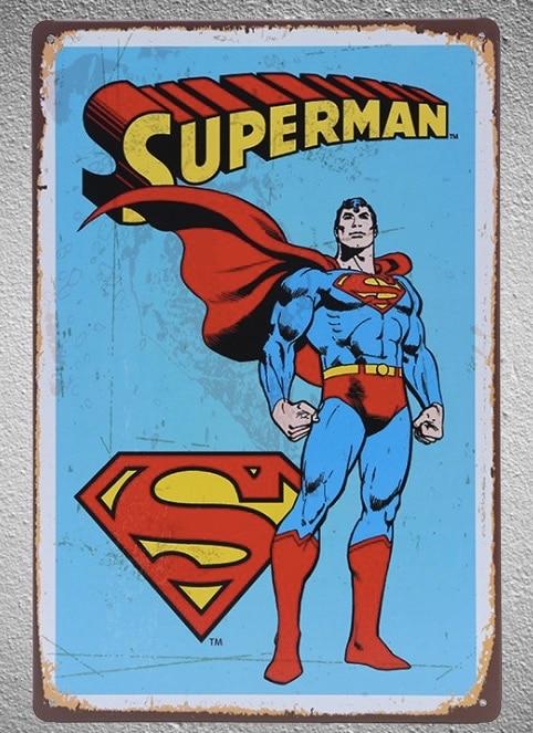 1 Piece Superhero Superman  Tin Plate Sign Wall Room Man Cave Decoration Art Dropshipping Poster Metal