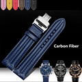 AOTU Colorful Carbon Fiber Soft Calf Genuine Leather Waterproof Straps for Panerai/Hamilton/Breitling Woman Man Watch Band+Tools