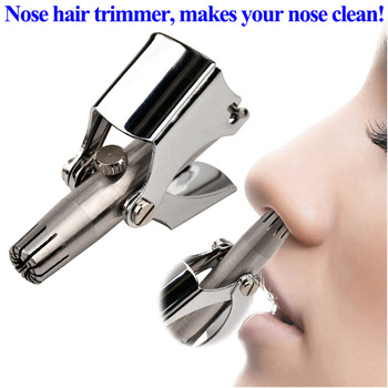 Adomaner Nose Hair Trimmer Ear Portable Vibrissa Razor Manual Rhinothrix Cutter Nariz Nasal Shaver Washable HT Tragi Scissors Hair Scissors