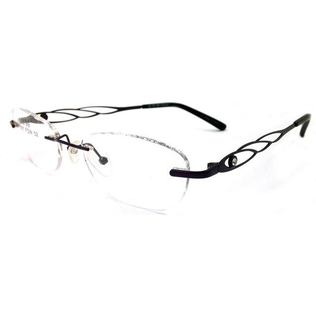 9f08a62f1d2 Laura Fata Strass Decorazione Occhiali Cornice per le donne Memoria Titanio  Telaio Senza Montatura Montature Per