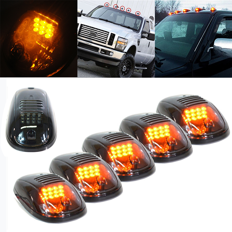 Mayitr 5PCS LED Smoked Amber Cab Roof Top Marker Light Running LED Lamp for Truck SUV Pickup 4x4 Car External Lights