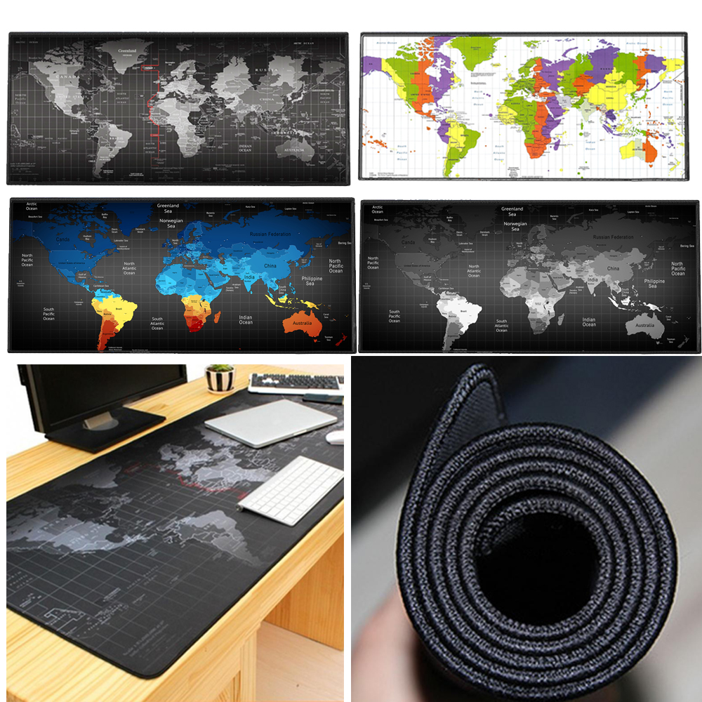 Large Gaming Mouse Pad Mat World Map XXL Stitched Edges Waterproof Wide & Long Rubber Base Mousepad Keyboad Mat 35.4 x 15.7 inch l 15 gaming mouse pad mat black 213 x 270 x 2mm
