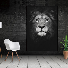 Lion Face Black White Nordic Wall Art Decor Picture