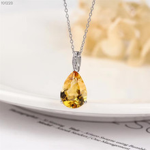 цена gem fine jewelry wholesale trendy 925 sterling silver natural yellow crystal necklace pendant for wedding engagement party gift онлайн в 2017 году