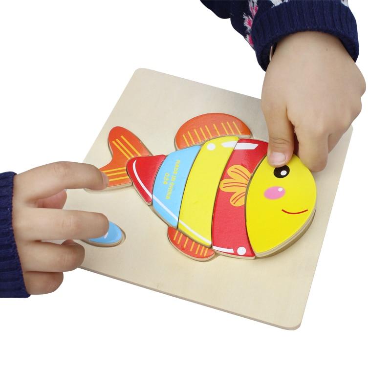 Uşaq Oyuncaqları Şirin Cizgi Heyvanlar Taxta Puzzle Uşaqlar - Bulmacalar - Fotoqrafiya 2