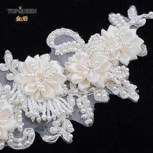 Image 5 - TOPQUEEN H346 Mode Braut Haar Zubehör Für Frauen spitze Blume mit perlen Perle Hairband Braut Hohe Qualität Haar Schmuck