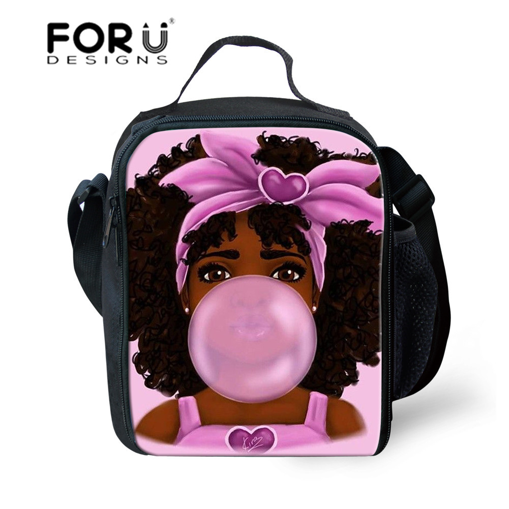 FORUDESIGNS Cooler Lunch Bags For Lunchbox Black Art Afro Girls Lunch Box Bag Kids Thermal Lunchbag Children Food Bag Customized