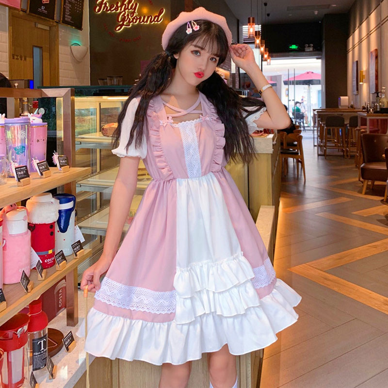 2019 Kawaii Lolita Dress Summer Square Collar Short Lolita Dresses Halloween Gothic Bow Women's Clothing