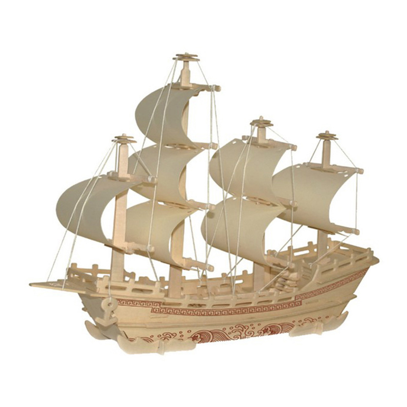 3D DIY Wooden Sailing Model Set Simulation Jigsaw Puzzle Assembly Educational Toys Home Decoration Gifts Children Adults 2019