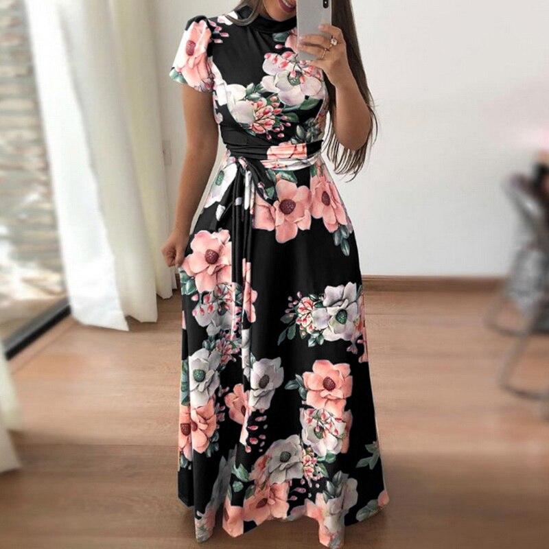 6b9c84cc2eeb4 Ladies Summer Fashion Floral Print Short Sleeve Maxi Dress Women Colorblock  High Waist Dress