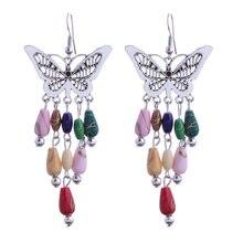 Hot Ethnic Tibetan Silver Color Bohemain Long Beads Stone Tassels Drop Earrings Hollow Butterfly Pendant Earrings For Women Gift
