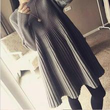 Big Size New Autumn Vintage Dress Knitted Loose Mini Vestido Femininas Pullover Korean Style Thickening Robe Show Slim RL32