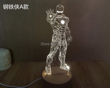 Free Shipping 1Piece 3D rechargeable Avengers Iron Man Model LED Night Light USB 3D LED Mood Lamp For Christmas Gifts цена