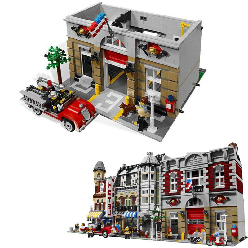 LEPIN 15004 2313Pcs City Street Fire Brigade Model Building Kits Blocks Bricks Compatible with Legoe 10197 Brick a toy a dream lepin 15008 2462pcs city street creator green grocer model building kits blocks bricks compatible 10185