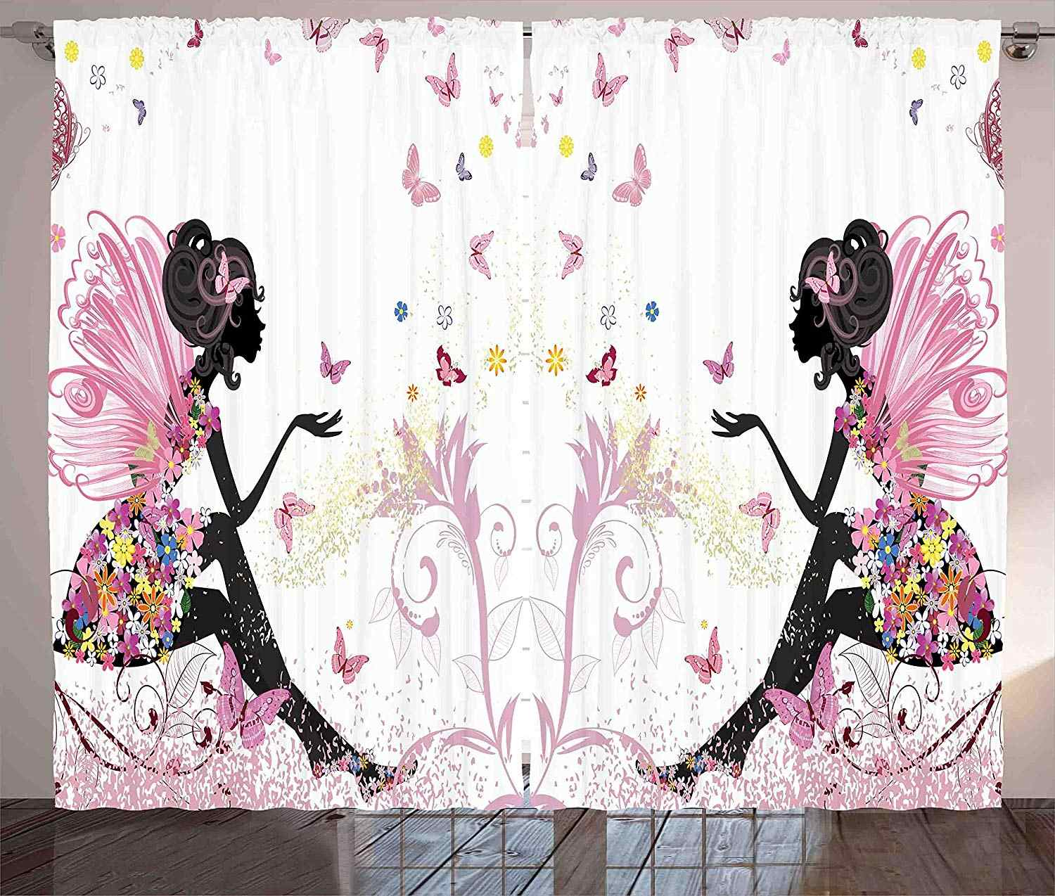 Girls Curtains Fairy Girl with Wings in a Floral Dress Magical Fantasy Garden Flying Butterflies Living Room Bedroom Window Drap