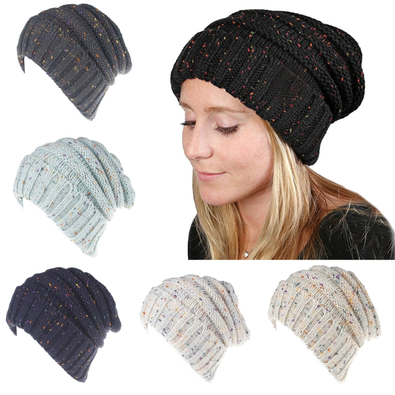 Womens Fashion Ponytail Cap Warm Beanie Knitted Hat Messy High Bun Ponytail Beanie Casual Hat New 6 Colors