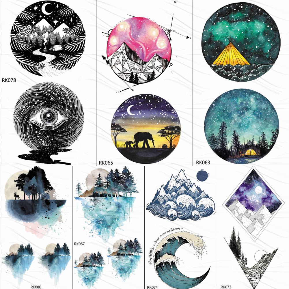 OMMGO Watercolor Geometric Moutain Camping Temporary Tattoos For Kids Sticker Surf Wave Forest Tattoo Body Art Arm Fake Tatoos