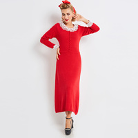 Sisjuly Women Autumn Sweater Dress Girls Long Sleeve Red Round Neck Knee Length Girls Straight Appliques