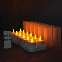 Conjunto de 12 controle remoto led velas cintilação geada recarregável chá luzes/eletrônica vela lâmpada natal casamento barra