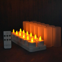 Set di 12 remote controlled LED candele Tremolanti glassato Ricaricabile Tè Luci/Elettronica lampada della Candela Di Natale Nozze bar