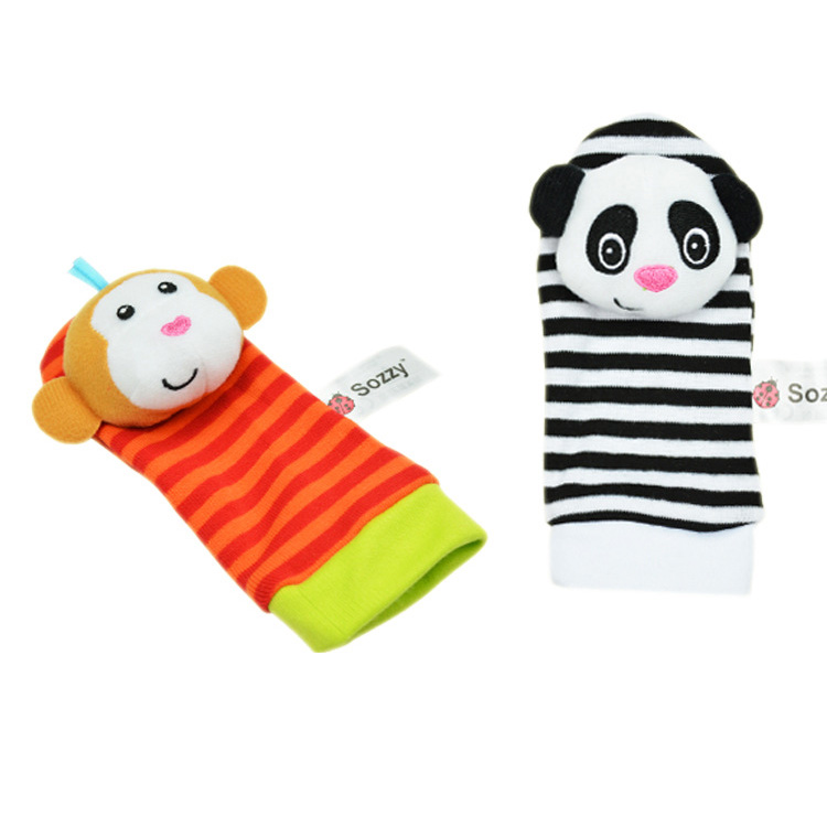 Sozzy Baby Toy Baby Wrist Rattle Toys Animal Socks Plush Wrist Strap With Rattle Babies Foot Socks #B