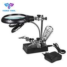 FGHGF Magnifier Desktop Loupe Microscope Magnifying Glass With LED Light Desk Third Hand Soldering Arm Gafas Holder