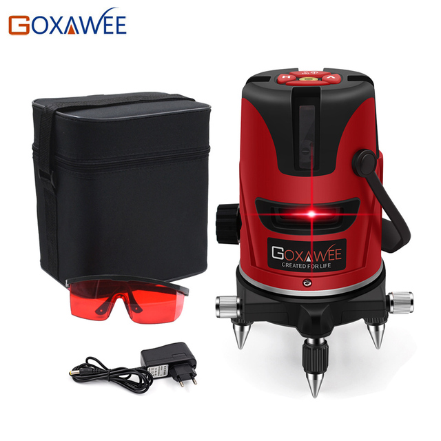 GOXAWEE Red laser level 360 Degree Cross Line Rotary Level Measuring Instruments 5 lines 6 points for Construction Tools