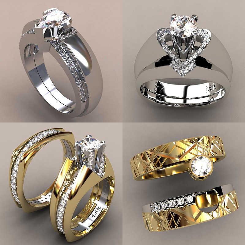 Роскошное женское кольцо из циркония, набор, уникальный стиль, кристалл, серебро, золотой цвет, свадебное кольцо, обещание на помолвку, кольца для женщин