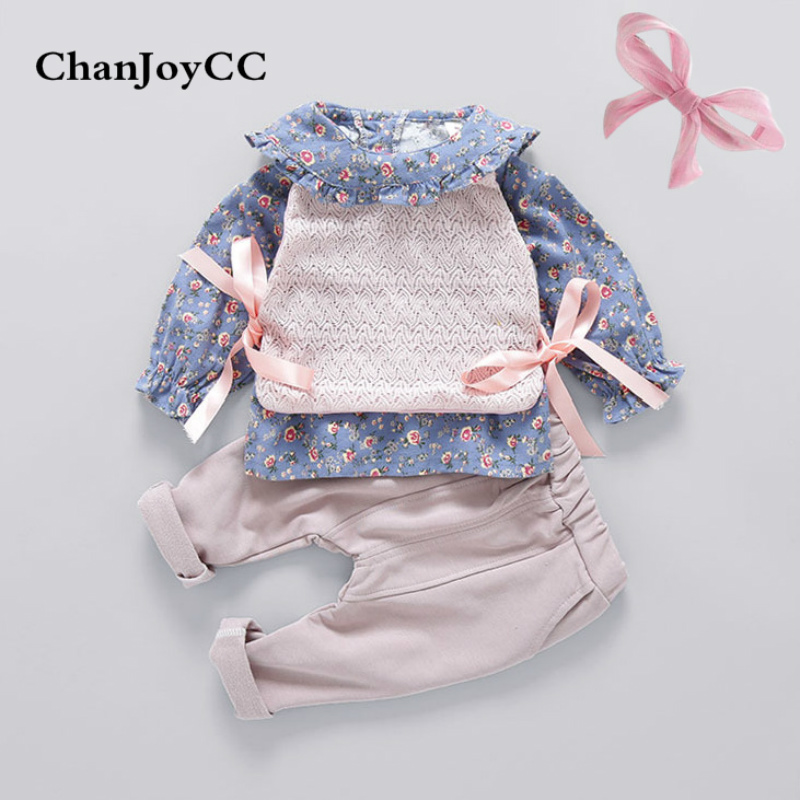 Baby Girls Cothing Set Spring Autumn New Fashion Kids Bow-knot Vest + Shirt + pant 3Pcs Suit Children Girls Floral Clothing girls cute knitted sweater with skirt kids set wear sweet style with bow knot for spring