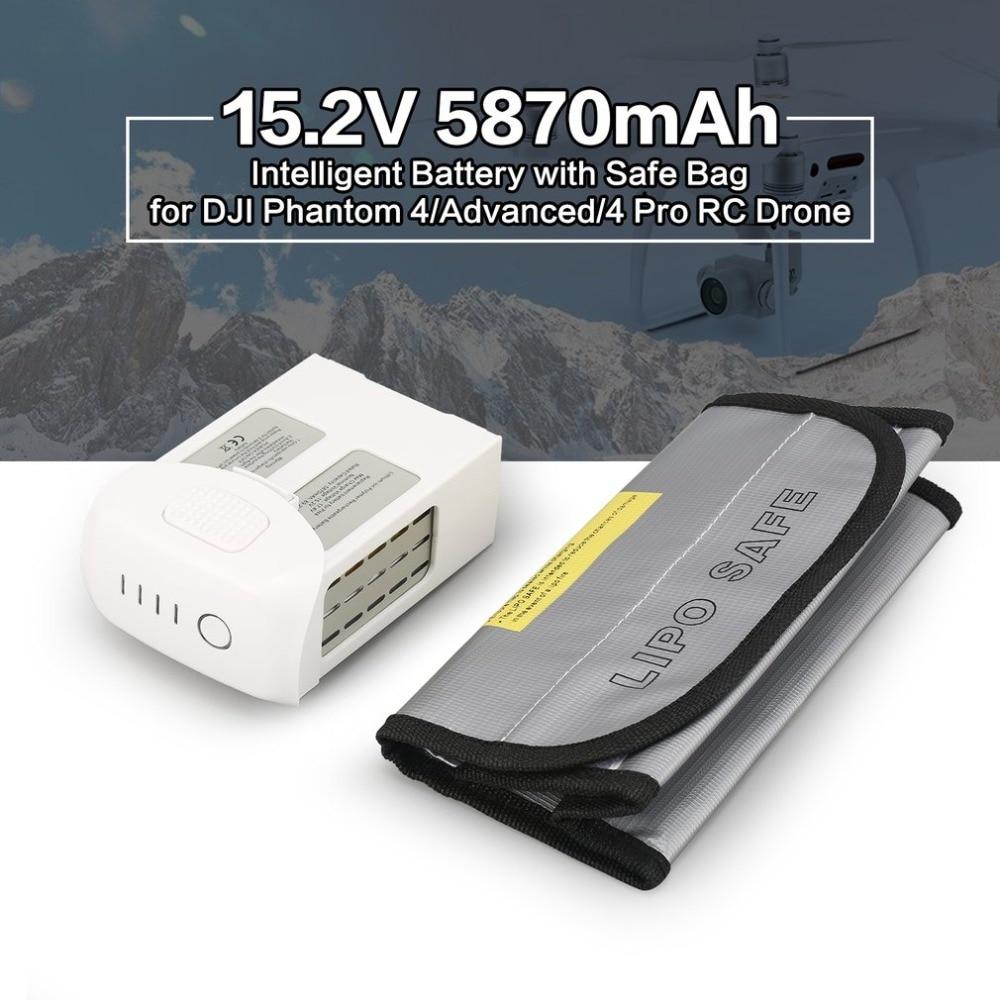 Batterie LiPo intelligente 15.2 V 5870 mAh remplacement de vol d'air de rechange pour Drone DJI Phantom 4/Advanced/4 Pro FPV RC avec sac de sécurité