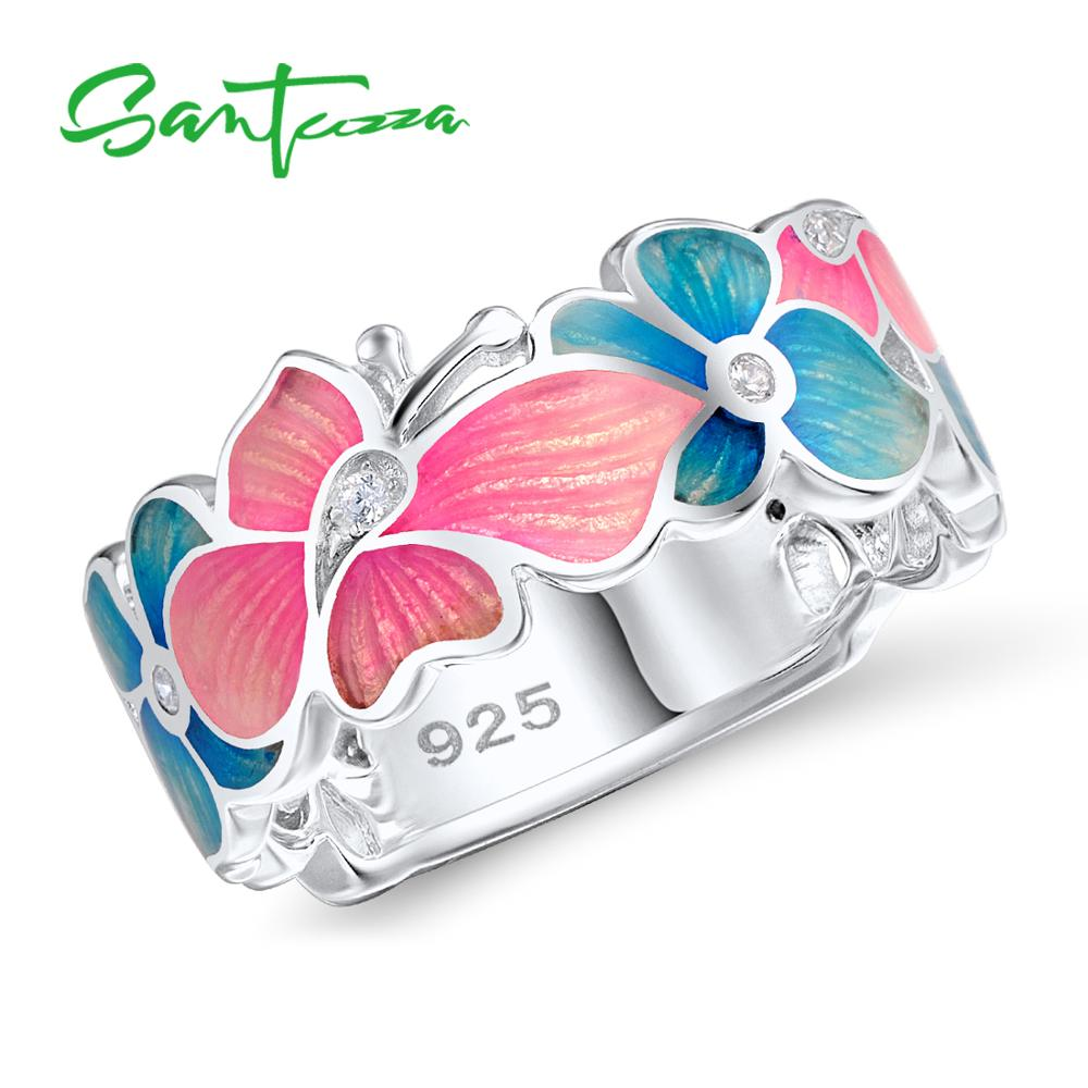 Rings For Woman Colorful Enamel Butterfly Flower Ring