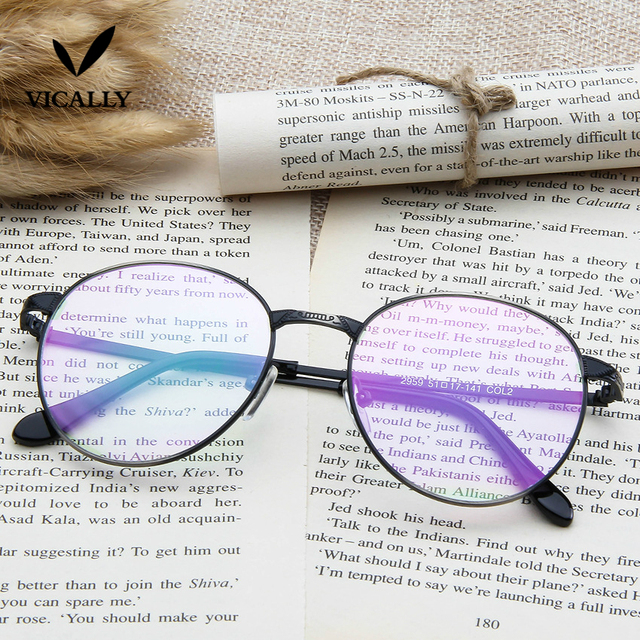 Unisex Vintage Round Reading Glasses Metal Frame Retro Personality College  Style Eyeglass Clear Lens Eye Glasses