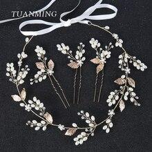 TUANMING 4PCS/Set Gold Wedding Bride Hair Jewelry Pearl Rhinestone Leaves Tiara Headband Flower Hair Band Women Hair Accessories