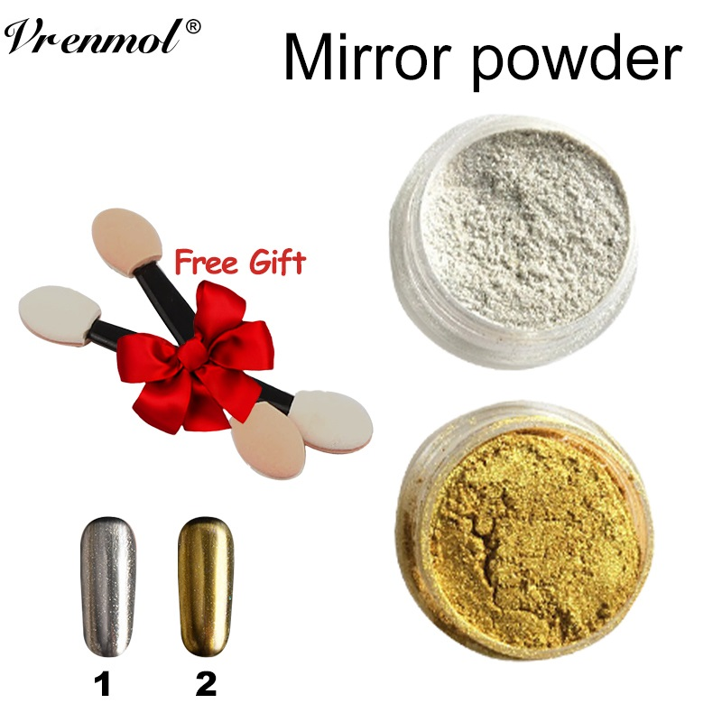 Vrenmol 1g/Box Gold Sliver Nail Glitter Powder Shinning Mirror Eye Shadow Magic Mirror Chrome Metallic for Nail Polish