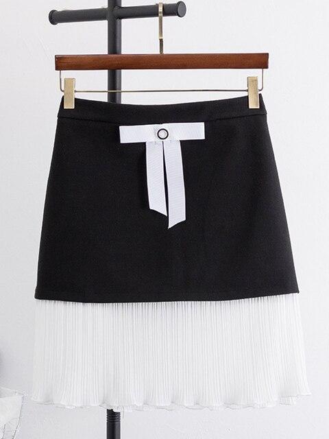 02ad61710 Falda Oversize negro mini mujeres de cintura alta, falda Patchwork las  señoras la moda