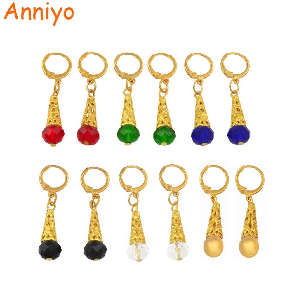 Anniyo Color Stone Earrings for Women Girls Gold Color Jewelry Marshall Micronesia Trendy Gifts Hawaii Guam Earring #138706