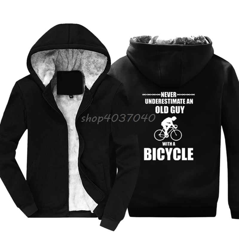 b4f8bc9cb Men Fashion Hoodies Never Underestimate Old Guy Bicycle Cycler Mountain  Biker Road Sweatshirt Hip Hop Jackets Hoody Streetwear ~ Free Shipping July  2019