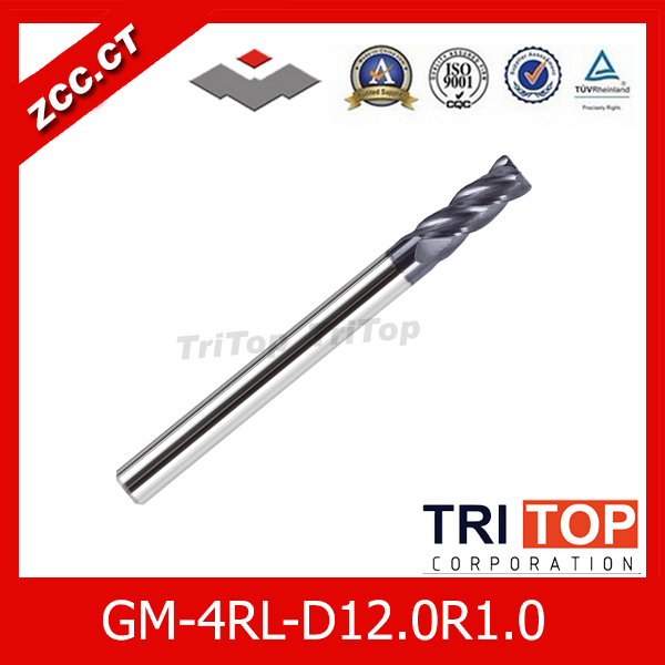 ZCC.CT  GM-4RL-D12.0R1.0  high quality 4-flute Carbide Corner Radius End Mills with long straight shank