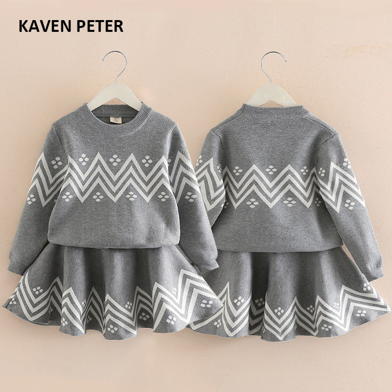Autumn dress suit Winter sweater dress girls knitted sweater suit kid warm sweater for child Spring grey dress 2-6T autumn winter female long wool knitted dresses turtleneck slim lady accept waist package hip pullovers sweater dress for women